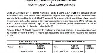 MPS raggruppamento azioni nuovo ISIN IT0005218752